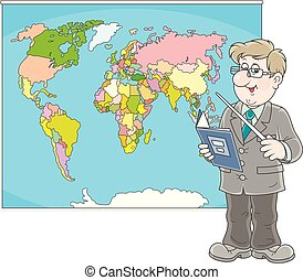 Geography teacher at lesson - Schoolteacher with a textbook ...