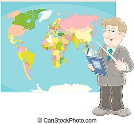 Schoolteacher with a textbook and a pointer standing near a world map, a vector illustration in cartoon style