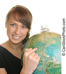Beautiful geography teacher with globe