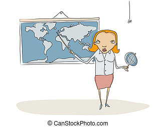 Geography teacher showing something to students on the world...