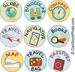 Geography Travel Sticker Labels Illustration - Illustration...