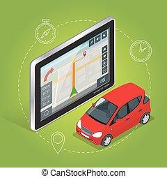 geolocation, isométrique, illustration., plat, mobile, tablet., écran, vecteur, toucher, gps, navigation, concept., 3d