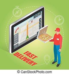 geolocation, isométrique, illustration., tablette, écran plat visualisation, gps, livraison rapide, vecteur, pizza, toucher, 3d, navigation, concept., service.