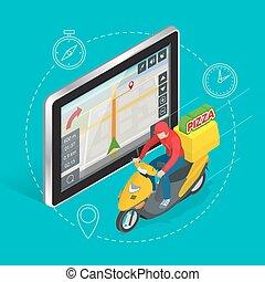 geolocation, isométrique, service., tablette, écran plat visualisation, gps, livraison rapide, vecteur, illustration, toucher, pizza, navigation, concept., 3d