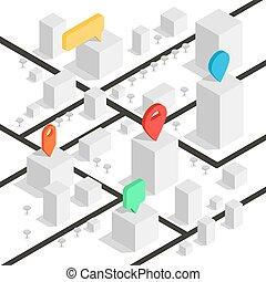 geolocation, isométrique, vecteur, épingle, carte, quelques-uns, town., map., bâtiments, illustration, minimalistic, partie, emplacement ville, pointer., navigation, ou, roads.