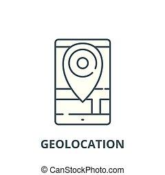 geolocation, linéaire, concept, symbole, signe, vecteur, icône, ligne, contour