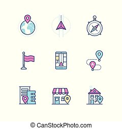 Geolocation - modern vector line design style icons set