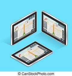 geolocation, tablette, navigation., mobile, tablet., écran, pc., toucher, technologies, navigation, concept., gps