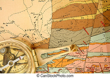 Geological mapping - A compass on a 1920s geological map of...