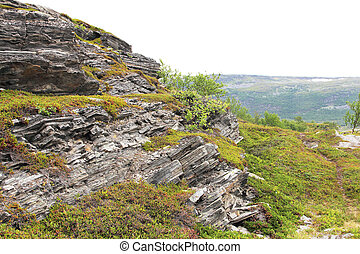Geological rock layers of norwegian mounatins