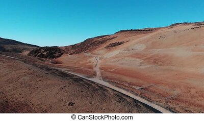 Geological tests at the base of the volcano. Seismic activity test. Teide National Park, Tenerife, Spain