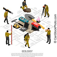 Geologist Isometric Composition