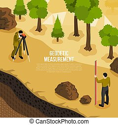 Geologist Work Isometric Composition