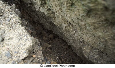 Geology Crack in Ground Handheld - Handheld shot following a...