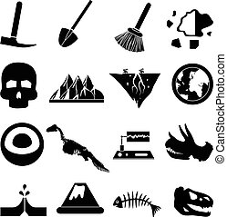 geology icons set in black.