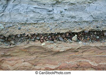 layers of geologic sediment, with clay and stones and graffiti carved in upper layer, exposed in a seashore bluff by ocean waves