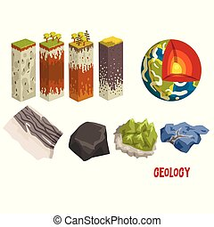 Geology science elements, stratigraphic columns, Earth detailed structure, mineral stones vector Illustration on a white background