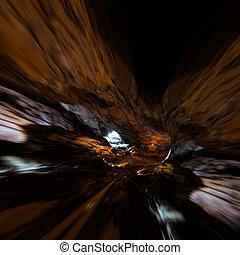 Geology stalactites tunnel. Mixed media