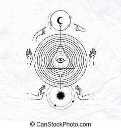 geomã©´ricas, abstratos, místico, símbolo