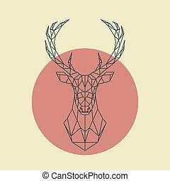 geomã©´ricas, deer., verde, cabeça