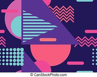 geomã©´ricas, seamless, padrão, em, a, memphis, estilo, de,...