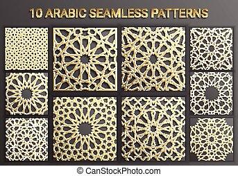 geométrico, árabe, elementos, ornamento, logotipo, circular, ramadan, patrón, ornamental, islámico, persa, redondo, set., plantilla, 3d, motiff, vector, símbolos