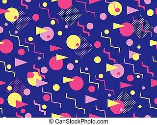 geométrico, 80's., illustration., vector, elementos, memphis...