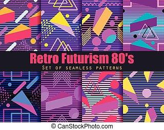 geométrico, 80's., patrón, retrowave., synthwave, fondo., ...