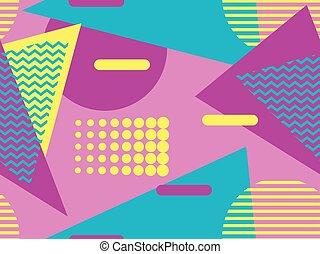 geométrico, 80's., vector, elementos, memphis, estilo, ...