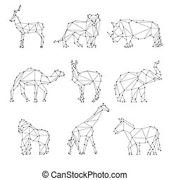 geométrico, animales, siluetas