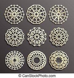 geométrico, circular, islámico, patrón, persa, plantilla, vector, redondo, árabe, símbolos, elementos, motiff, set., ornamental, 3d, logotipo, ramadan, ornamento