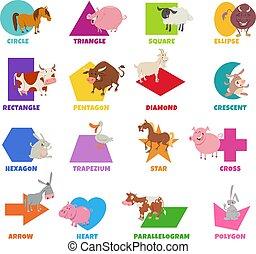geométrico, conjunto, formas, animales, granja, caricatura