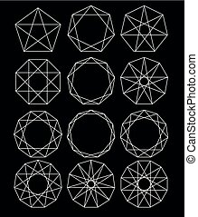 geométrico, conjunto, shapes.