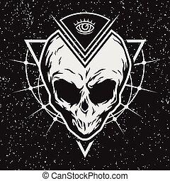 geométrico, cráneo, elements., extranjero