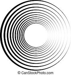 geométrico, element., concéntrico, motivo, radial, resumen