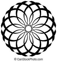 geométrico, elemento, decorativo, circular redonda, resumen, pattern.