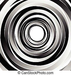 geométrico, espiral la configuración, con, círculos concéntricos, rings., resumen, monocromo, illustration.
