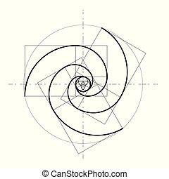 geométrico, fondo., vector, design., estilo, minimalistic, shapes., dorado, círculos, icon., logo., proportion., resumen, ratio., futurista