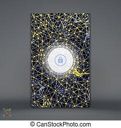 geométrico, illustration., cerradura, smartphone, fondo., apps., vector, cuadrícula, lock., móvil, cerrado, resumen, pantalla, moderno, 3d