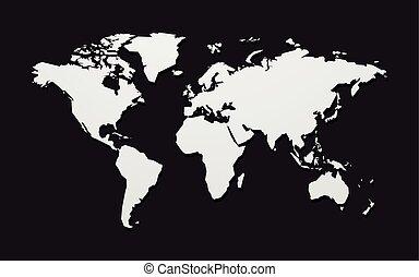 geométrico, mapa del mundo, aislado, en, fondo negro