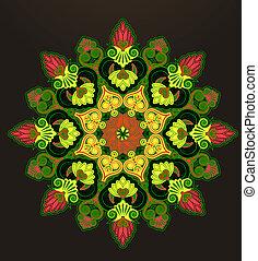 geométrico, ornamento, radial