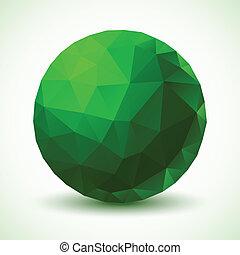 geométrico, pelota, verde