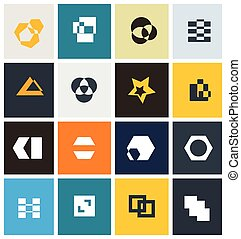 geométrico, resumen, icono, conjunto