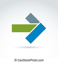 geométrico, resumen, símbolo, con, flecha, vector, diseño...