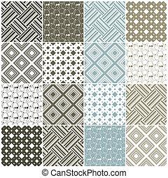 geométrico, seamless, patterns:, cuadrados, y, rayas