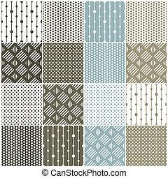 geométrico, seamless, patterns:, puntos, cuadrados