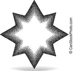 geométrico, stipple, forma, efecto