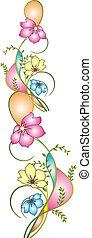 geomatrical, ボーダー, 花
