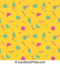 geometics, patrón, memphis, colores, estilo, 80s, seamless, ...
