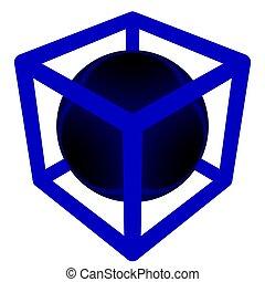 geometría, caja, -, esfera
